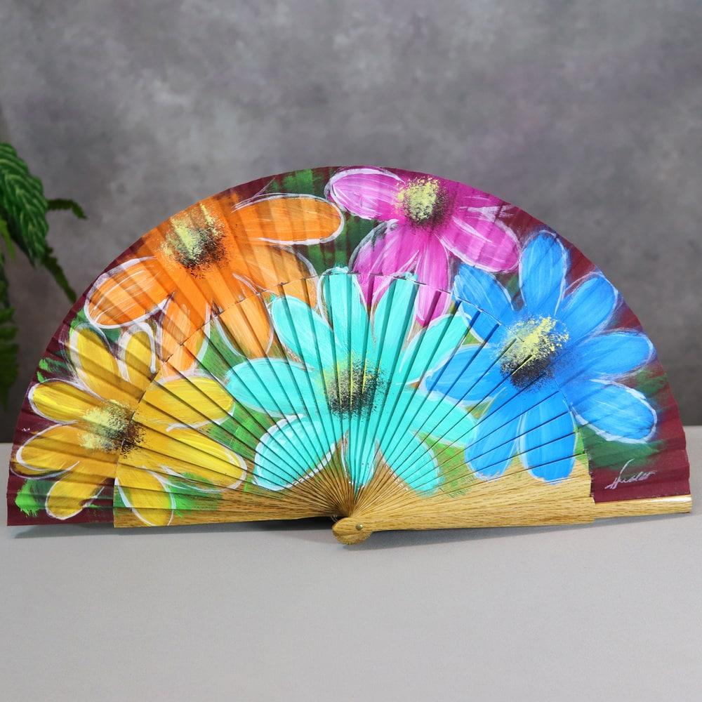 painted wood fan
