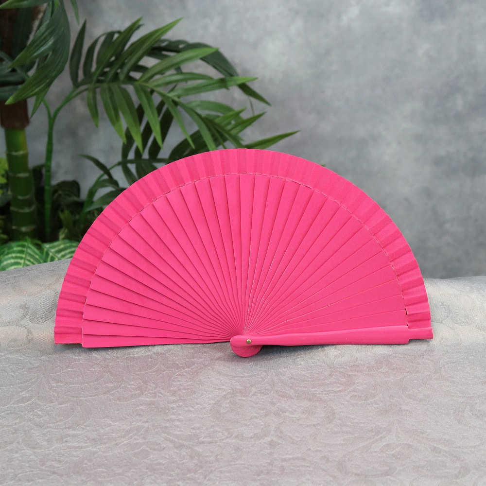 small solid color wood fan