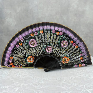 violet hand painted wood fan