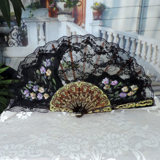 delightful hand painted lace fan