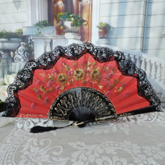 Hand painted lace fan