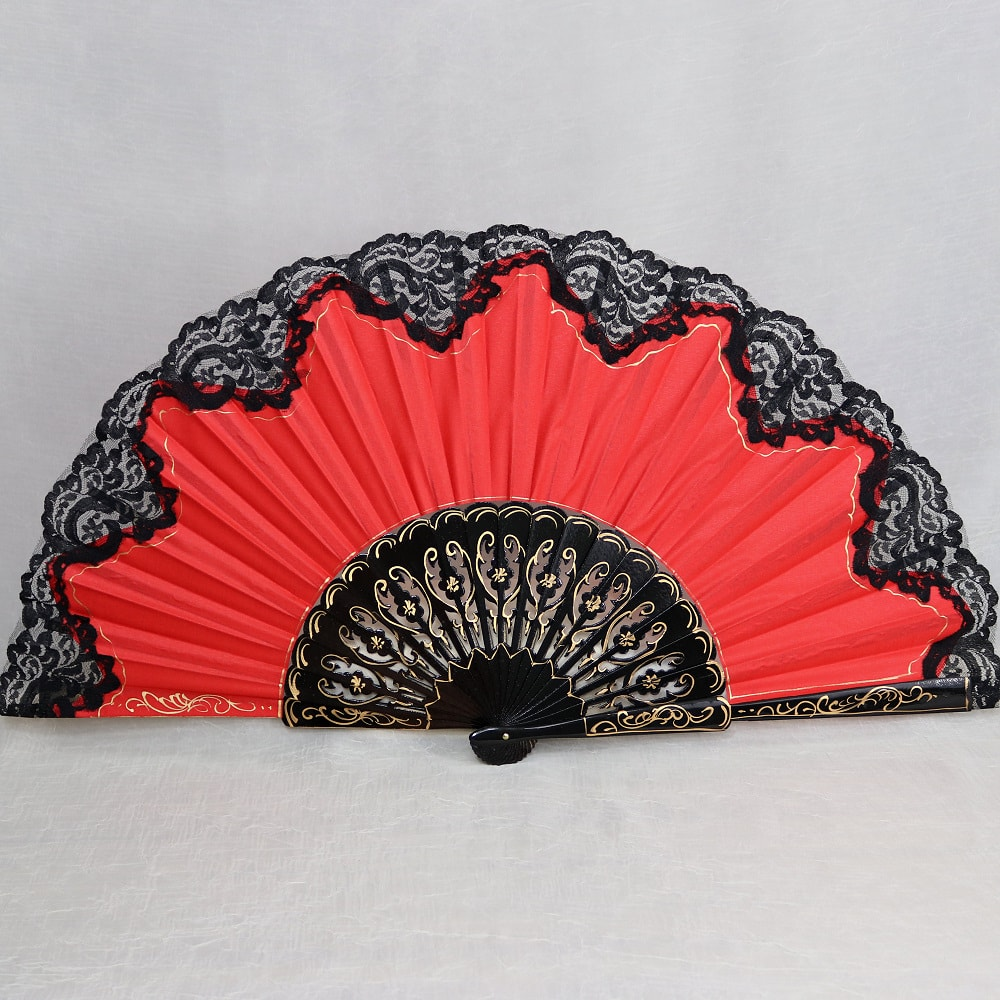 carved painted pericon fan