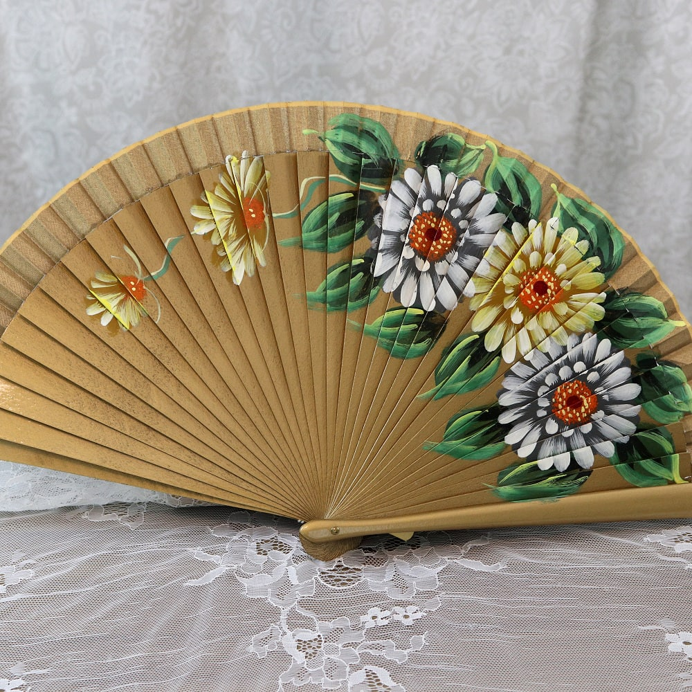 hand painted gold fan