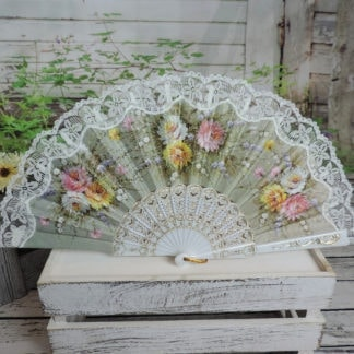 floral screen printed Spanish fan