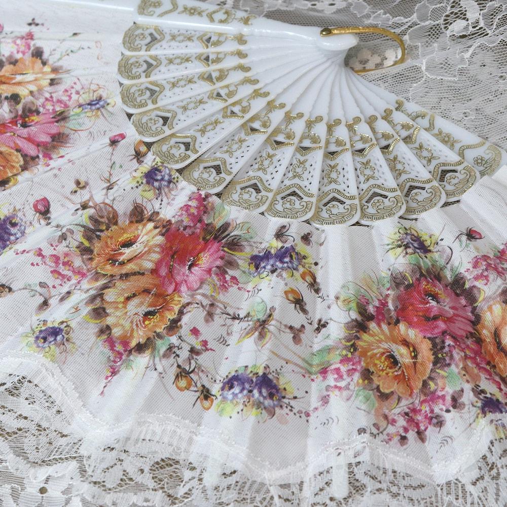 printed floral fan
