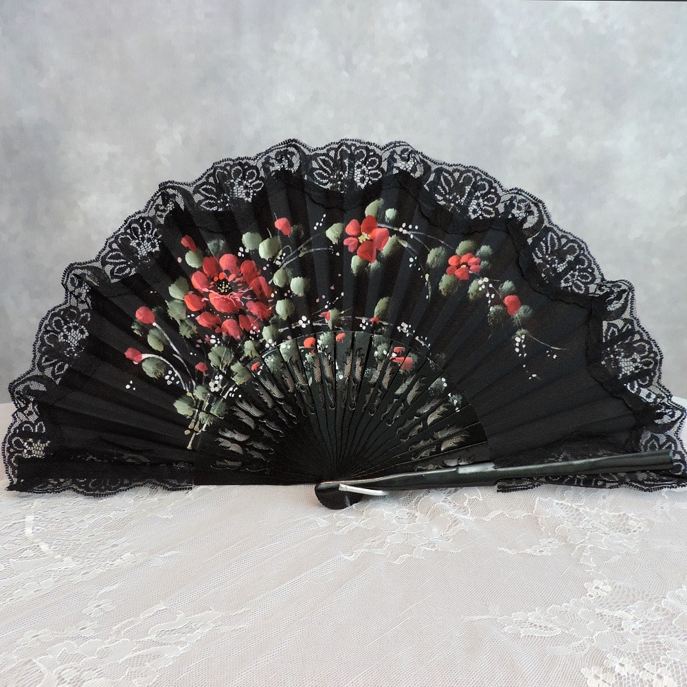 hand painted lace Spanish fan