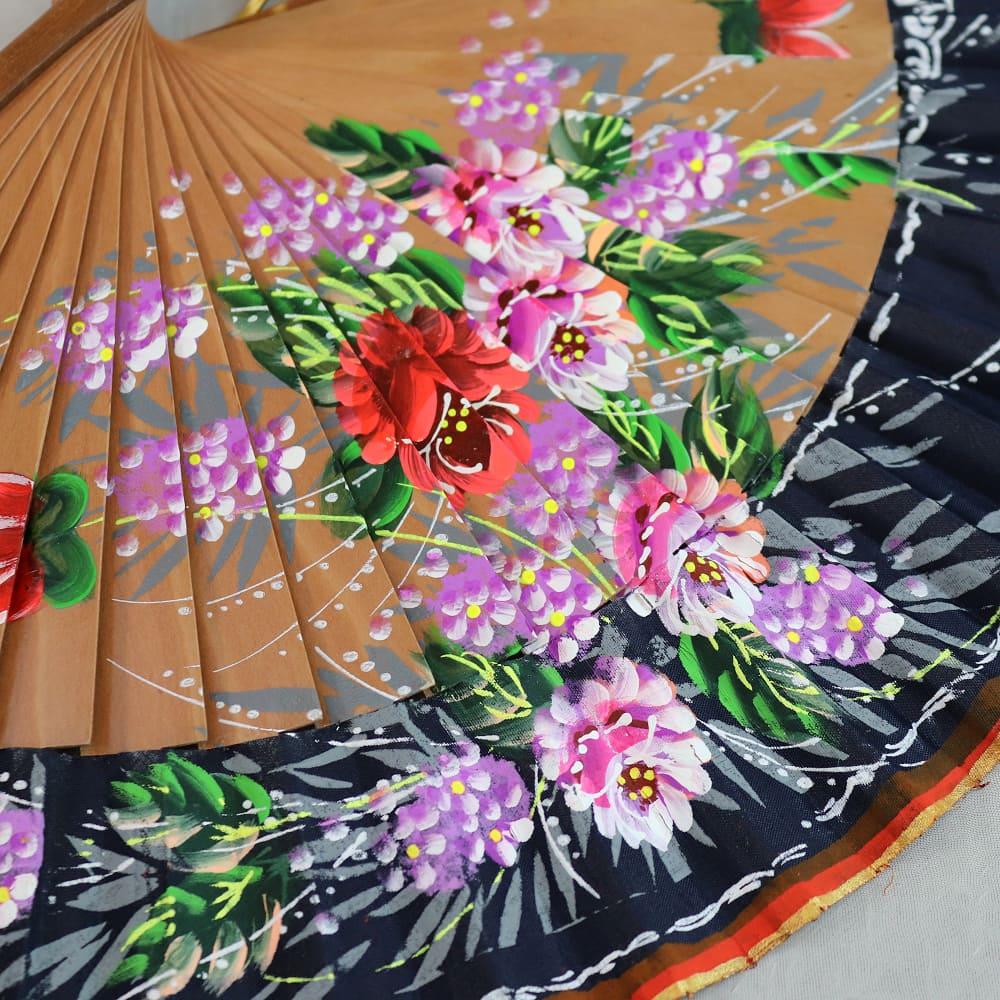 floral wood fan