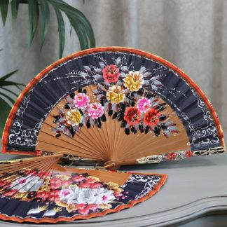 bold floral wood fan