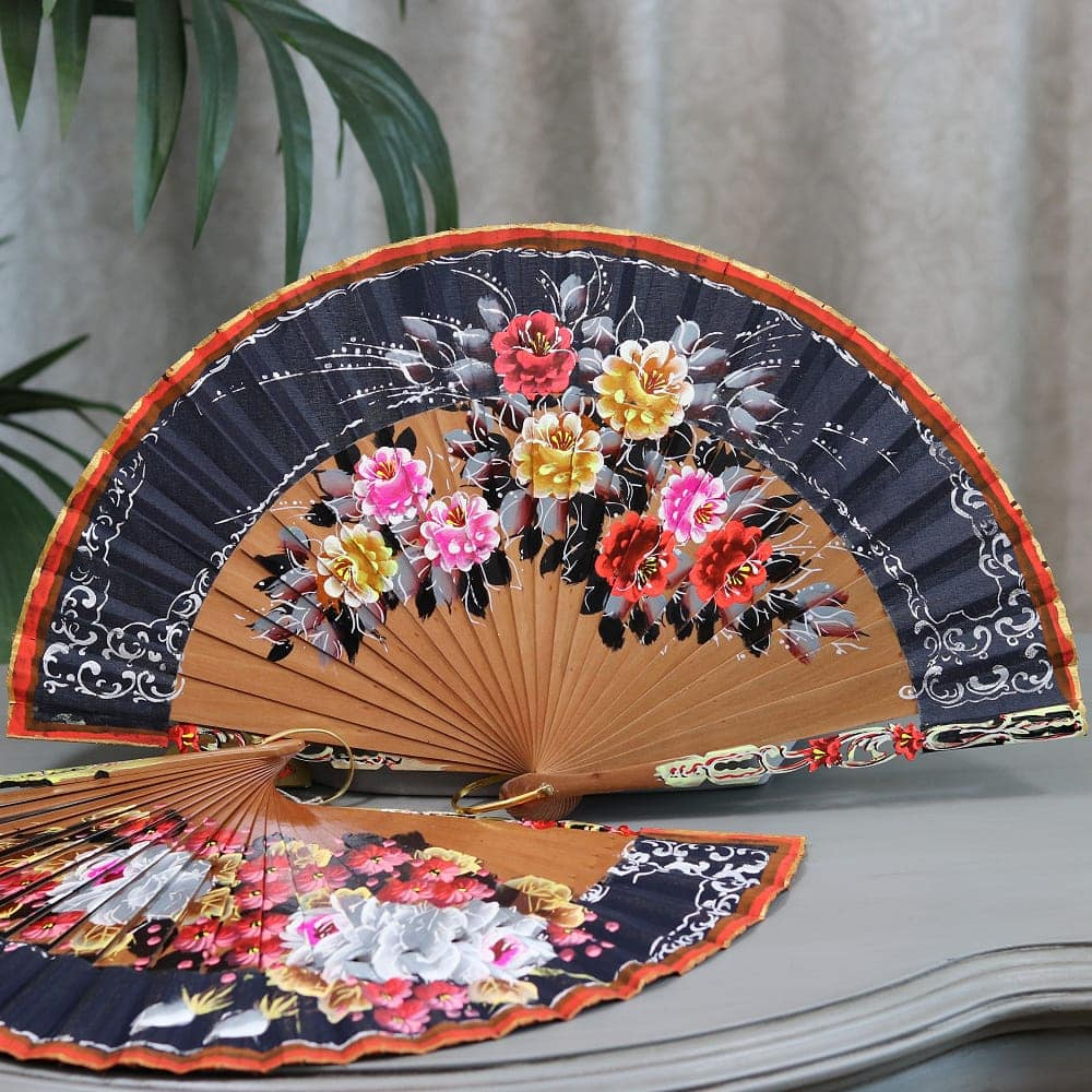 bold floral wood fan