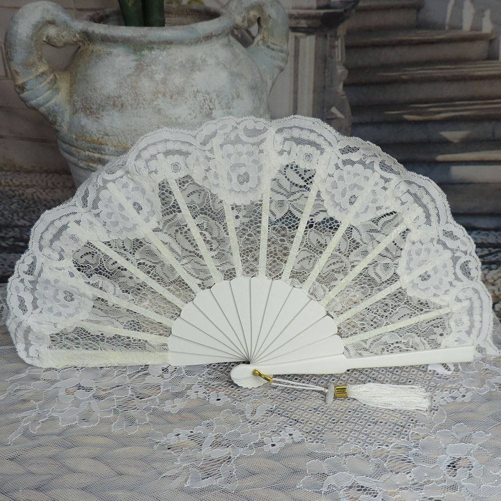 off white wedding fan