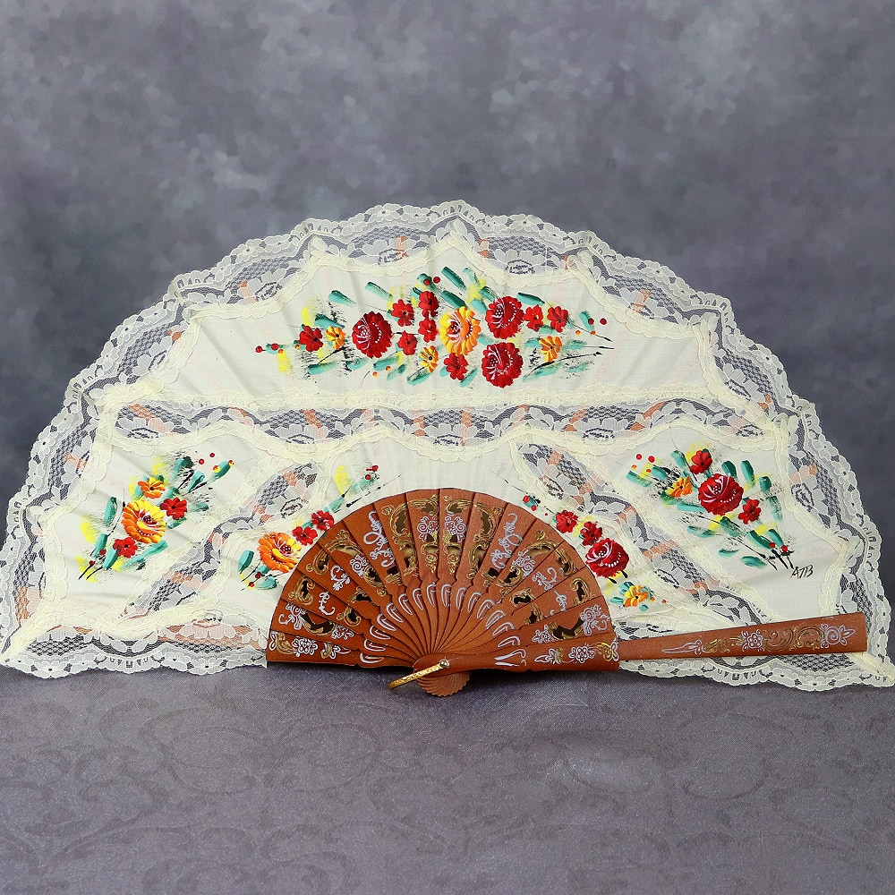 hand painted fan with lace