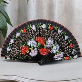hand painted carnation fan