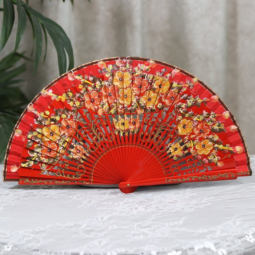 Spanish painted carved fan