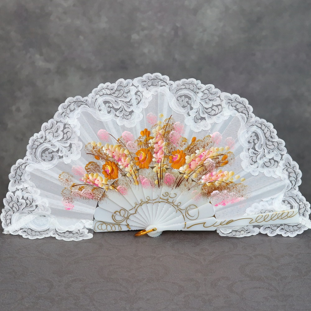 hand painted Spanish fan with lace