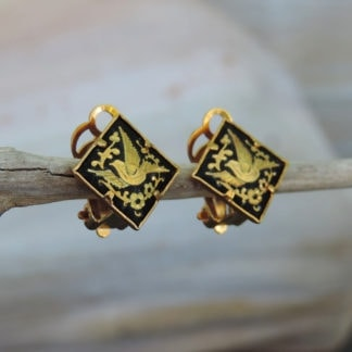 dainty damascene clip earrings