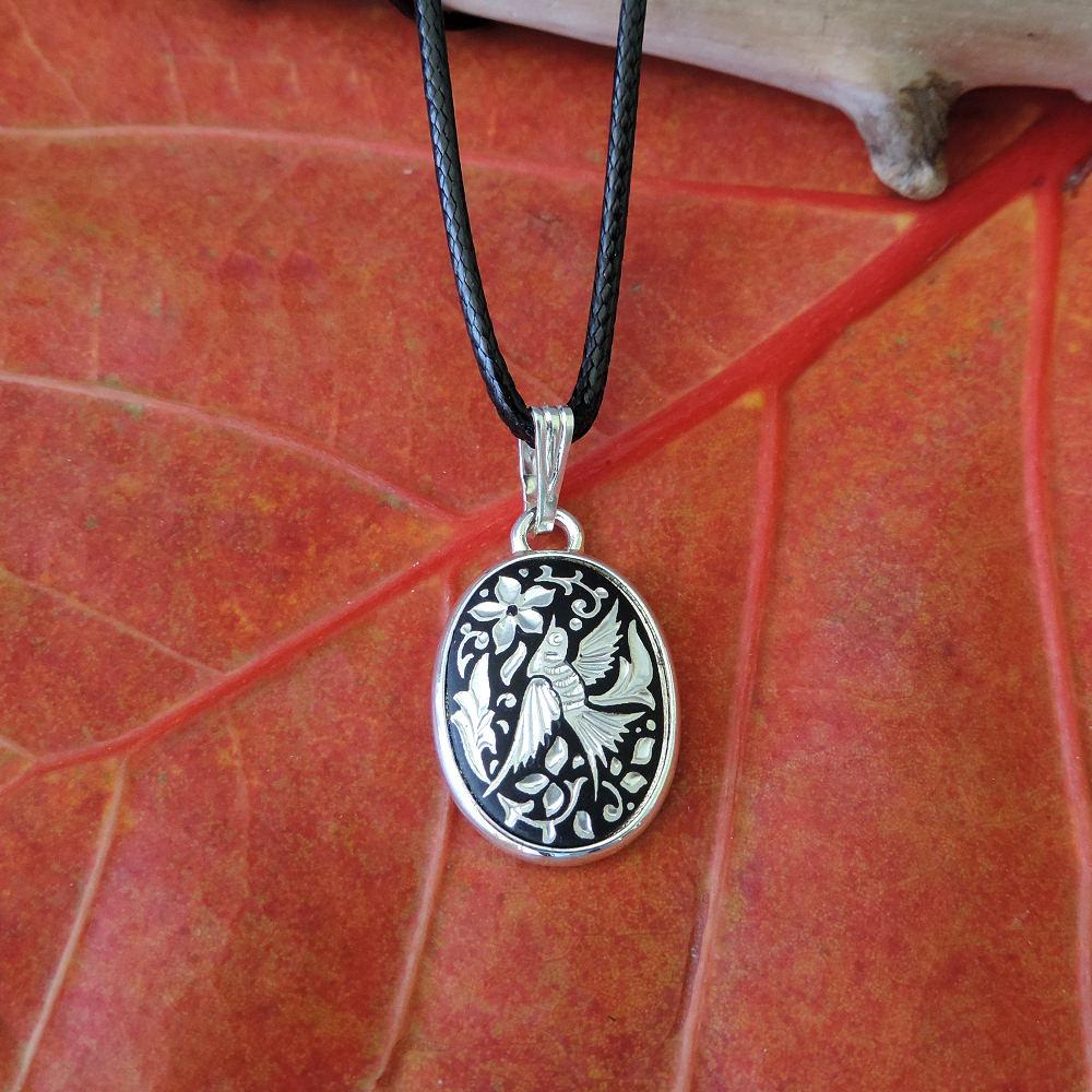 silver damascene necklace