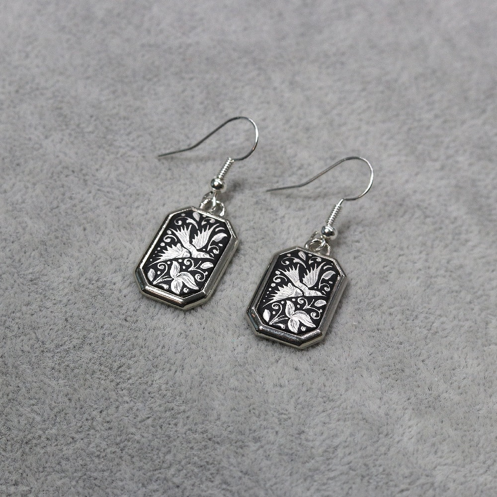 silver wire damascene earrings