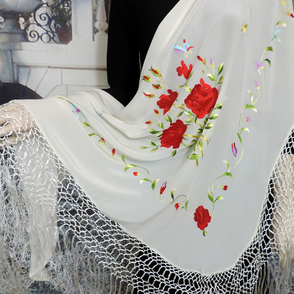 silk embroidered triangular shawl