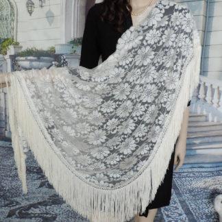 Lace shawl with fringe